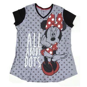 Disney Minnie Mouse Gray Polkadot T-shirt Dress